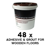 48 x Floor Tile Adhesive & Grout - Wooden Floors - Grey 17kg