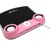 BCL PRETTY IN PINK MOUSE MAT WITH SPEAKERS AND 4 PORT HUB