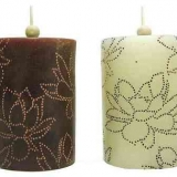 Large Assortment of Scented Candles, Silk Flower Rings, Glassware