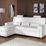 Modena Eco Leather Left Corner Sofa Bed - Eco13 (White) Eco Leather