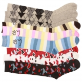 240 x Ladies Patterned Knee High Socks (Shoe Size 4-6)