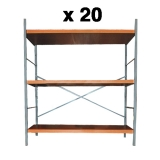 20 x Utility Storage Unit - 3 Shelf - Chrome & Beech